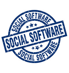 Social software blue round grunge stamp vector
