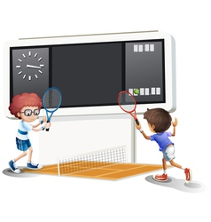 Two boys playing tennis with a big scoreboard vector image vector image