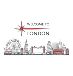 Welcome to london poster in linear style vector