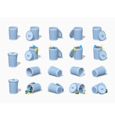 Set of the low poly trash cans vector