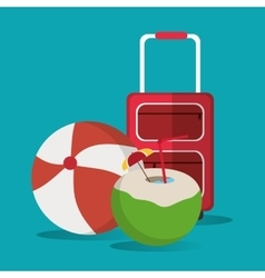 Baggage ball cocktail vacation summer vector