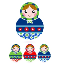 Colorful wooden traditional russian dolls vector