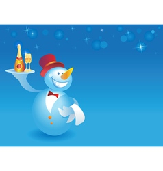 Snowman-waiter with champagne on blue vector