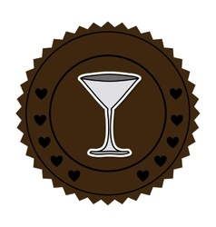 Color round frame with martini glass vector