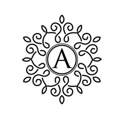 Letter a with elegant frame design vector