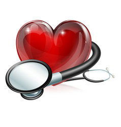 Heart symbol and stethoscope vector