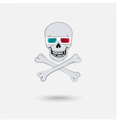 Skull with 3d glasses vector
