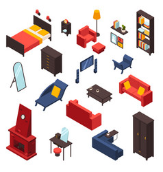 Living room furniture icons set vector