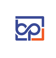 bp letter with square bubble logo vector image