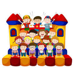 Many kids sitting on bounching house vector