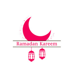 Ramadan kareem lantern and moon muslim holiday vector