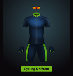 Realistic cycling uniform template blue vector