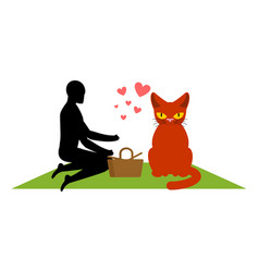Cat lover on picnic my kitty blanket and basket vector