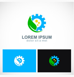 green leaf ecology wheel logo vector image