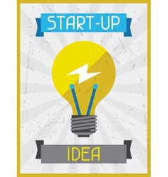 Start-up idea retro poster in flat design style vector