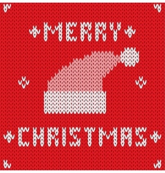 Christmas card with knitted texture vector