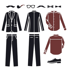 Collection of fashion mens clothes icons vector