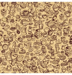 hand drawn coffee pattern vector image