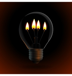 Lightbulb with four fire candle on dark background vector