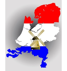 Netherlands map with windmill vector