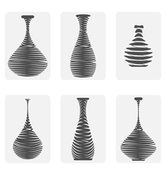monochrome icon set with amphora vector image