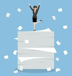 Business woman celebrating on a lot of documents vector