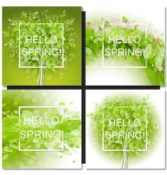 Fresh spring green tree leaves frame vector