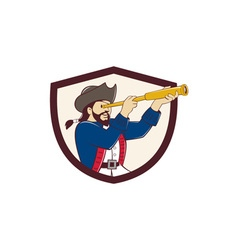 Pirate looking spyglass crest cartoon vector