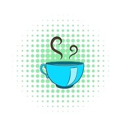 Cup of hot tea icon comics style vector