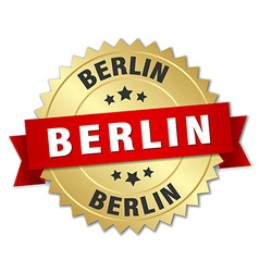 Berlin round golden badge with red ribbon vector