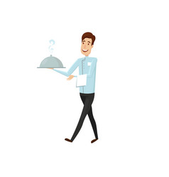 a waiter with a hot dish in the restaurant flat vector image
