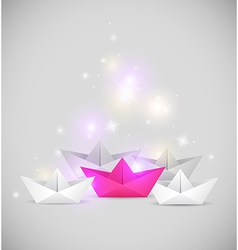 Abstract background with paper boats vector