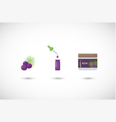 acai berry flat icon set vector image