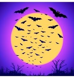 Black bats silhouettes on big yellow moon at vector