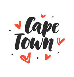 Cape town modern city hand written lettering vector