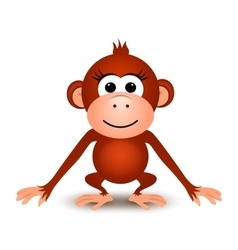 Cartoon cute monkey on a white background vector image vector image