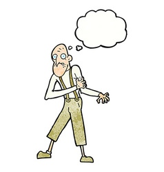Cartoon old man having heart attack with thought vector