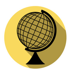 Earth globe sign flat black icon with vector