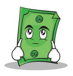 Eye roll dollar character cartoon style vector