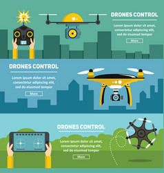 flat banners with drones multicopters and remote vector image vector image