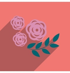 Flat icon with long shadow rose branch vector