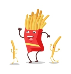Fries dancing isolated on white funny food vector
