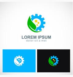 green leaf ecology wheel logo vector image