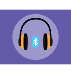 Headphone full with bluetooth connection vector