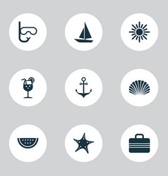 Hot icons set collection of sunny star baggage vector