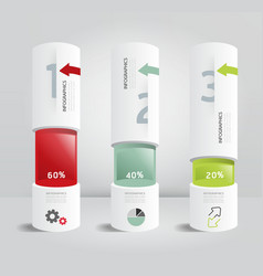 Infographic template modern box cylinder design vector