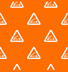 lifting bridge warning sign pattern seamless vector image vector image