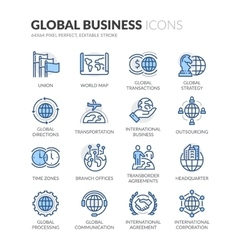 Line global business icons vector