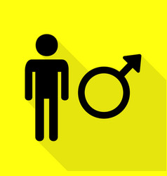male sign black icon with flat style vector image vector image
