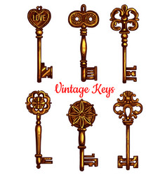 old vintage metal keys isolated icons set vector image vector image